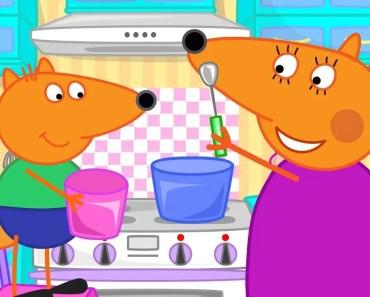 Fox Family Funny Cartoon for Kids Apples for Mom - fox family funny cartoon for kids apples for mom