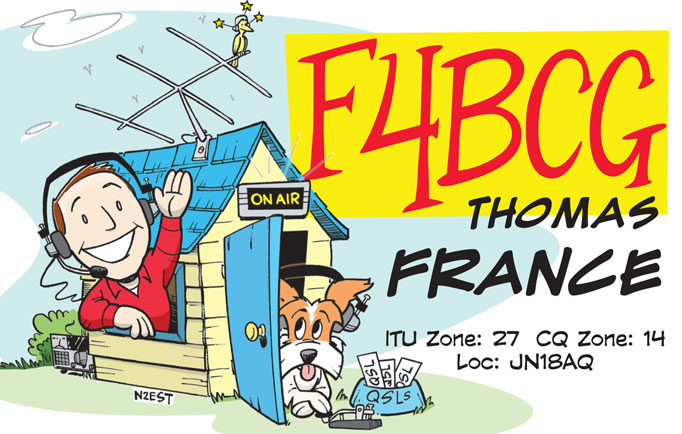 F4BCG cartoon QSL by N2EST for Hamtoons