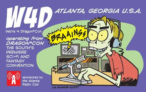 DragonCon ham radio cartoon QSL by N2EST