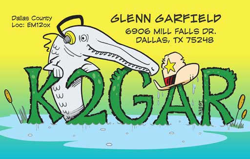 K2GAR ham radio cartoon QSL by N2EST