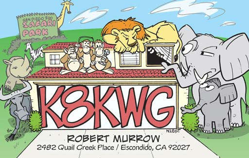 K8KWG ham radio cartoon QSL by N2EST