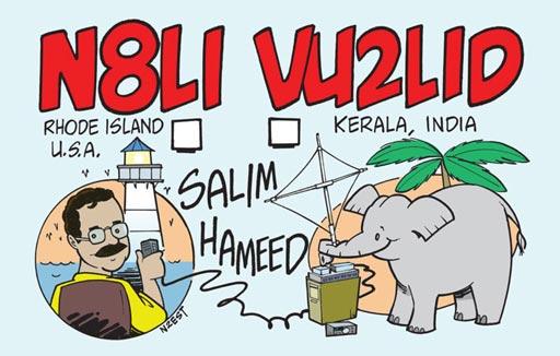N8LI VU2LID ham radio cartoon QSL by N2EST