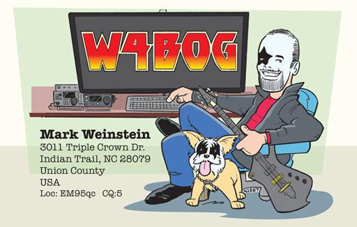 W4BOG KISS-themed ham radio cartoon QSL by N2EST