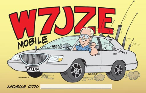 W7JZE ham radio cartoon QSL by N2EST