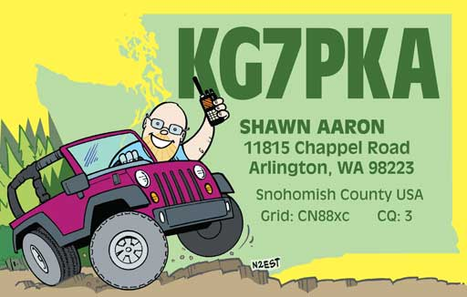 KG7PKA cartoon QSL by N2EST