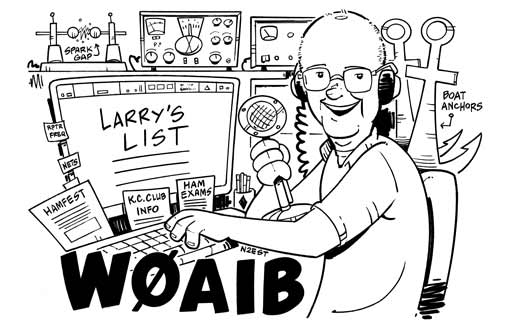 W0AIB ham radio cartoon QSL by N2EST
