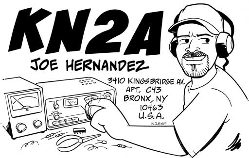 KN2A cartoon QSL by N2EST