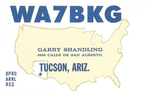 WA7BKG Garry Shandling QSL