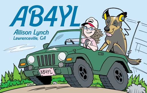 AB4YL ham radio cartoon QSL by N2EST