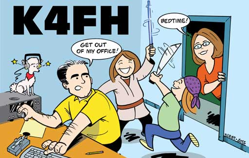 K4FH ham radio cartoon QSL by N2EST