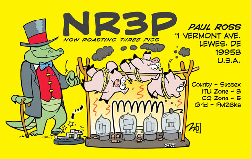NR3P cartoon QSL by N2EST
