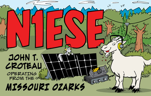 N1ESE ham radio cartoon QSL by N2EST