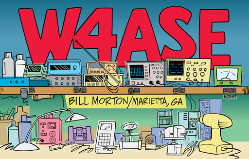 W4ASE ham radio cartoon QSL by N2EST