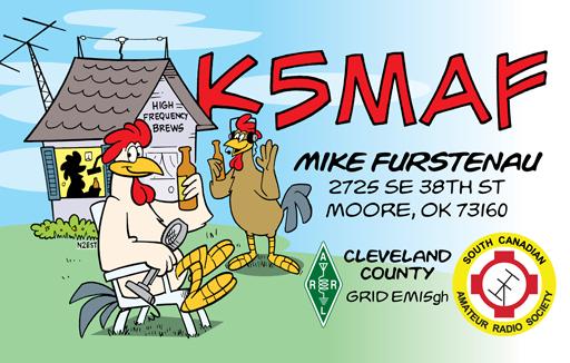 K5MAF ham radio cartoon QSL by N2EST