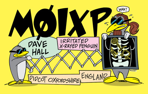M0IXP ham radio cartoon QSL by N2EST