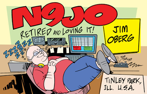 N9JO ham radio cartoon QSL by N2EST