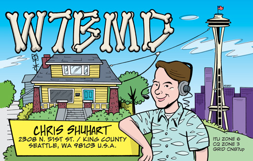 W7BMD ham radio cartoon QSL by N2EST