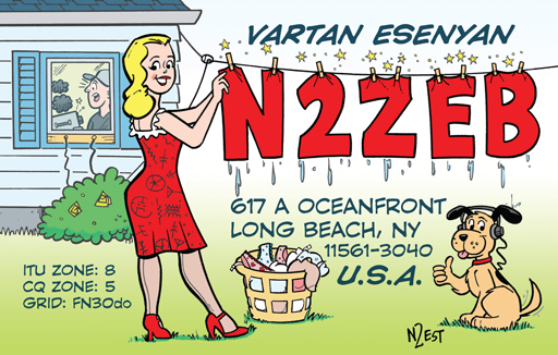 N2ZEB ham radio cartoon QSL by N2EST