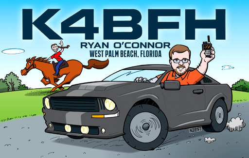 K4BFH ham radio cartoon QSL by N2EST
