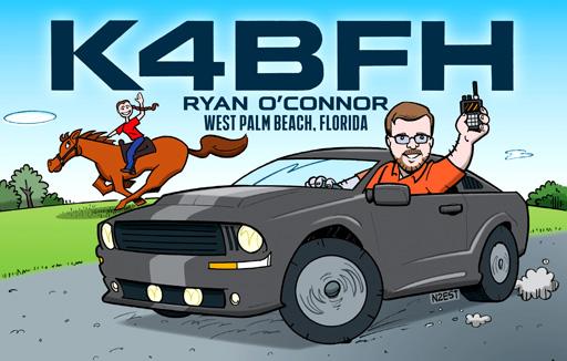 K4BFH ham radio cartoon QSL by N2EST