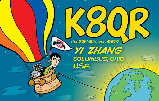 K8QR ham radio cartoon QSL by N2EST
