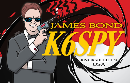 K6SPY ham radio cartoon QSL by N2EST