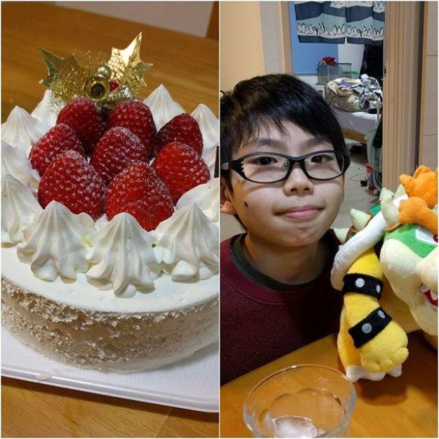 いいクリスマスイブでした。ケーキも美味しかったし、プレゼントもよろこんでもらえた。(^^)v