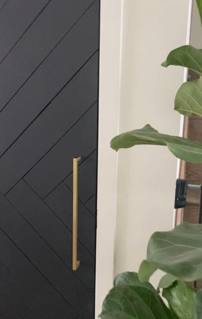 Long gold handle on door budget door