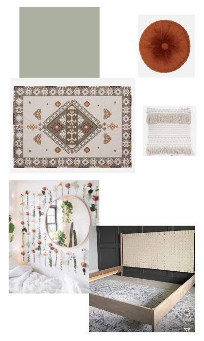 Mood board for a garden guest room