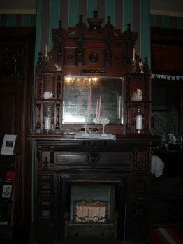 fireplace, library