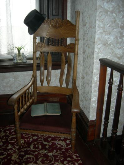 low chair & window, upstairs hallway