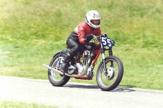John racing his 350cc Ariel Sprint Special at Lyme Park Sprint.