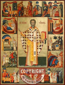 St Nicholas and scenes from his life -hand-painted-icon-70x54cm
