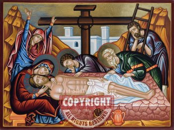 The Lamentation of Christ-hand-painted-icon-21x28