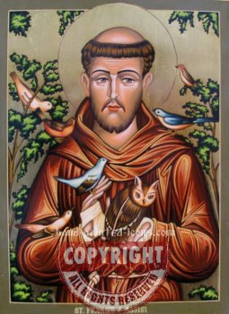 St Francis-hand-painted icon