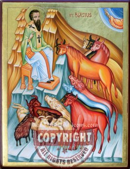 St Blasius- hand-painted icon