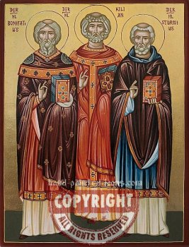 St.Bonifatius-St.Killian and St.Sturmius- hand-painted icon