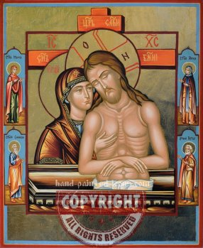 Christ in the earthen thomb-Pieta-hand-painted-orthodox-icon