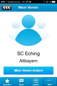 Die Mannschaften des SC Eching Handbll in myBHV View