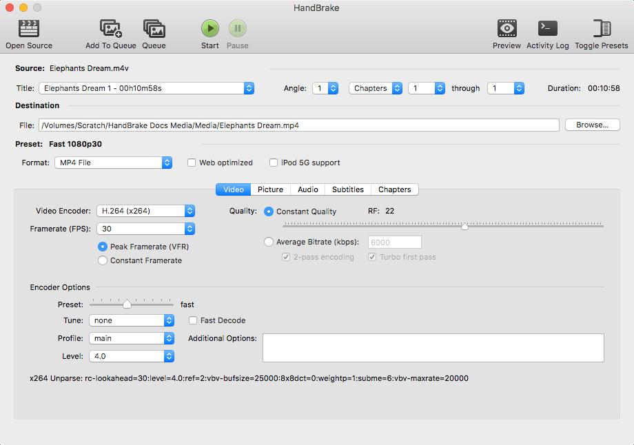HandBrake for Mac 1.1.0 免费版 - 优秀的视频格式转换应用