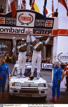 012 - WRC 1984. RAC. Vatanen/Harryman. Peugeot 205 Turbo 16. Vainqueur. Podium