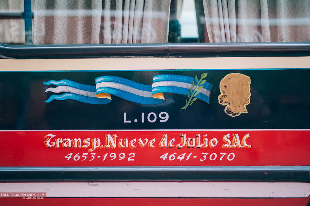hand painted graphics adorn the public buses in Buenos Aires, Argentina