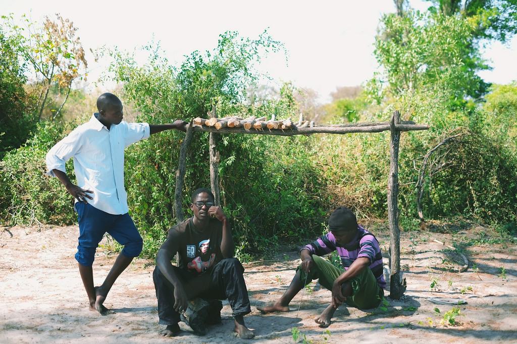 polers taking a break, okavango delta, botswana, africa