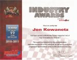 Jon's Certificate for being one of the Top 12 Installers in 2011.