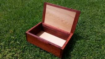 Reclaimed Redgum box, lid open