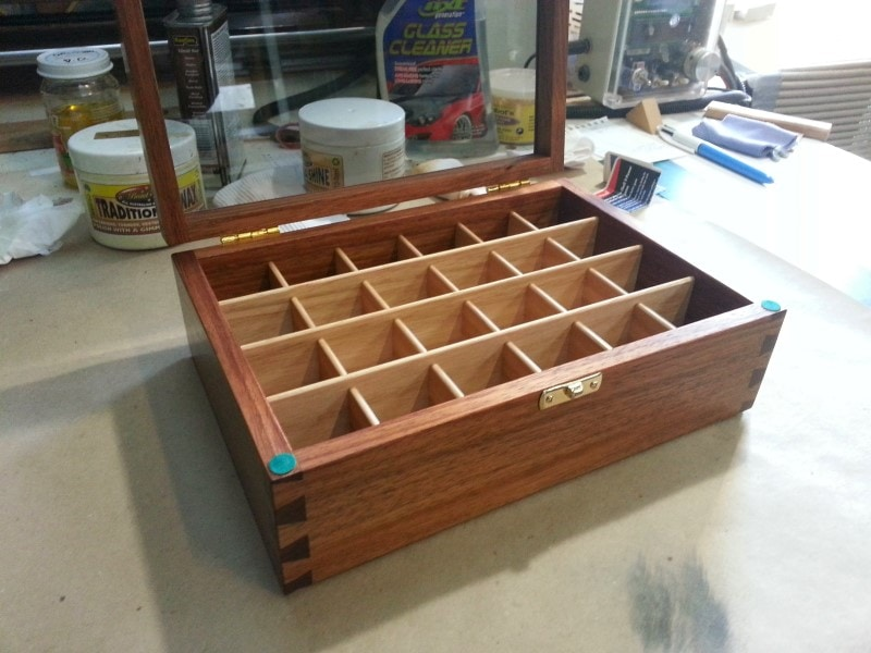 open lid image of a wooden display boxes tasmanian blackwood glass lid custom made