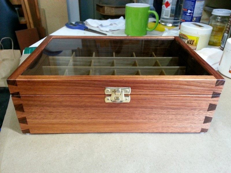 front view image of a wooden display box for essential oils tasmanian blackwood glass lid custom made