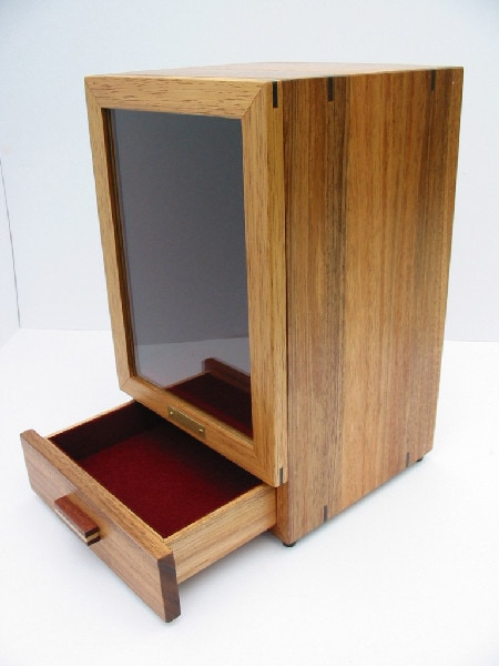 Drawer open view of the Tasmanian Blackwood Bespoke urn cabinet for baby-children's ashes.
