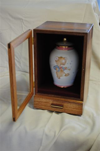 Urn cabinet for child's ashes. Tasmanian Blackwood with lined drawer.
