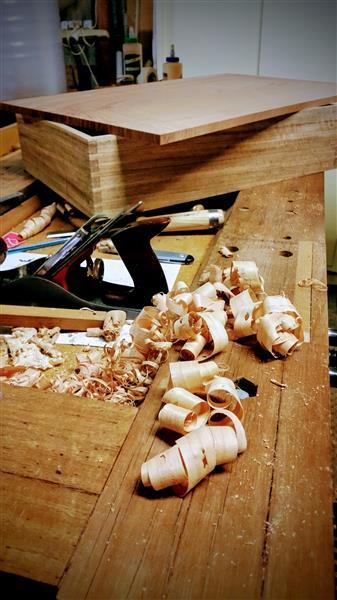 shavings on the workbench